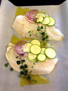 Orange Roughy with sliced zucchini & red onion.