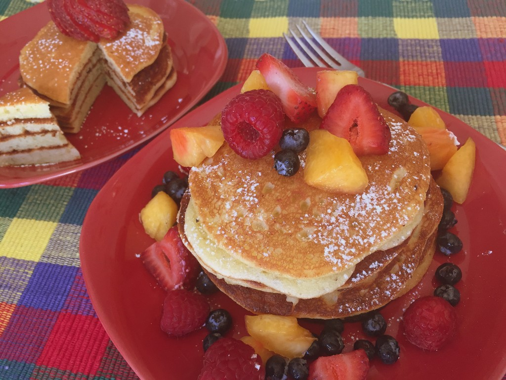 Gluten Free Lemon Pancakes with Fresh Fruit